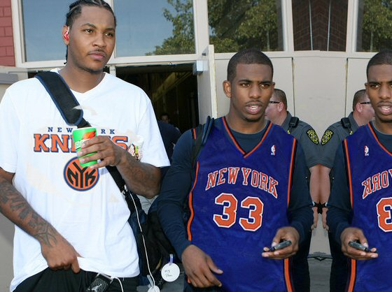 Above is a photo of Carmello Anthony and Chris Paul in a Knicks jersey and