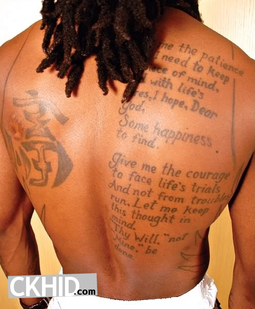 Lil Wayne Tattoos Pics show detail of his body. Tattoos cover the rappers